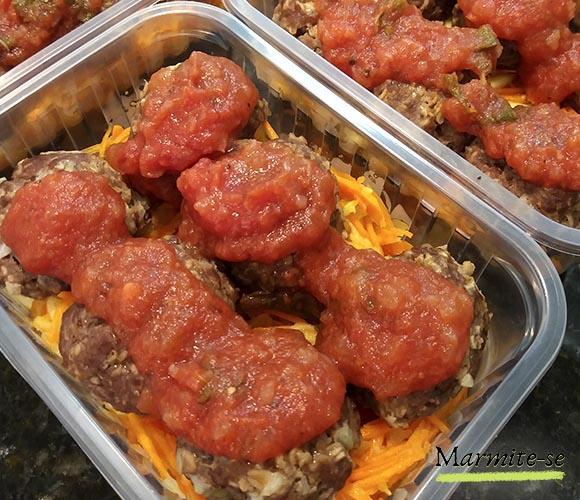 receitas marmitese almôndega de carne com macarrão de cenoura